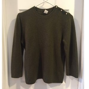 J. Crew Olive Green Crew Neck 3/4 Sleeve Sweater M